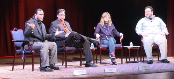 Bill Hargenrader leading a panel at the Humans to Mars Summit. From Left to Right, Bill Hargenrader, Mars Expert, Jim Wilson, Public Affairs Officer, NASA, Keri Kukral, Co-founder and CEO of Raw Science, and Ron Sparkman Founder of UpportunityU.
